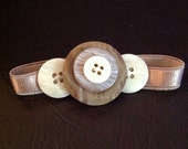 Button Jewelry - button bracelet made with new and vintage buttons on stretch satin in cream and brown