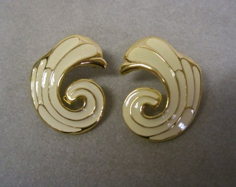 Enamel Earrings Ivory Gold Vintage 80s Abstract Pierced Ears Modernist Swirls Cream Off White Neutral