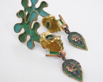 Vintage 1980's Matisse Face Brass Screw Back Bronze Earrings / Artsy Earrings