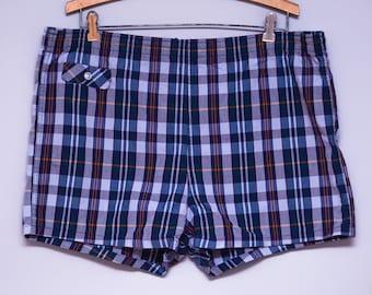 60s Swim Shorts Blue Plaid Lined Beach Bum Swim Trunks Large