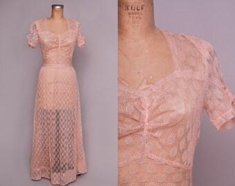 1930s Crochet Dress Bias Cut Rose Pink Lace Evening Dress