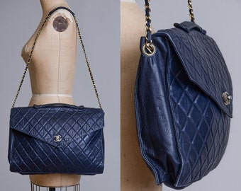 70s CHANEL Large Briefcase Portfolio Purse Rare Quilted Lambskin CC Closure Made in Italy Crossbody Huge Designer Bag