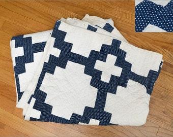 1800's Indigo Blue Calico Chain Quilt Early Americana Polka Dot Indigo Cotton Quilt