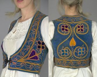 60s Embroidered Velvet Folk Vest Blue Quilted Antique Afghan Bohemian Gypsy Vest