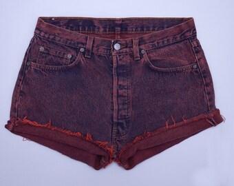 80s Levis Acid Wash Red Denim Butt Rock Cut Off Jean Shorts W 32