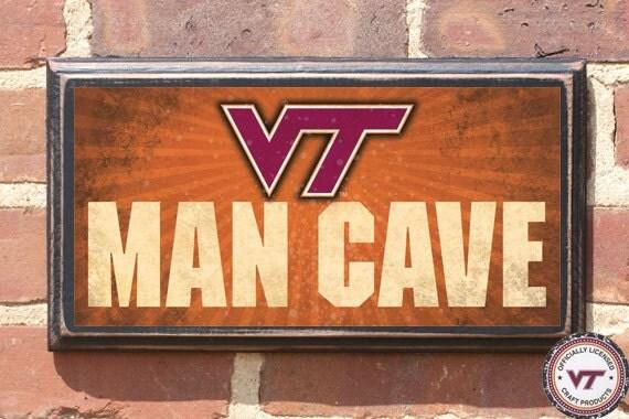 Georgia Tech Man Cave Signs : Virginia tech hokies man cave vt wall art sign plaque gift