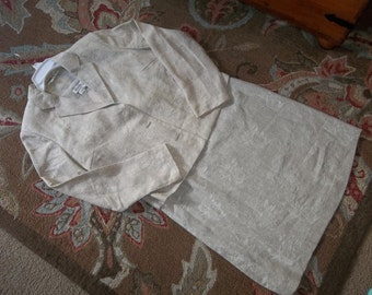 SPIEGELS  Linen Sheath Dress & Jacket...Size 8...New Old Stock....Perfect Condition...Oatmeal Color