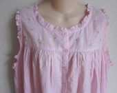 cotton nightgown cozy pink gingham button front prairie style plus size 1X XXL