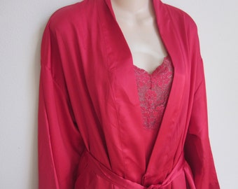 Victoria's Secret Peignoir nightgown & kimono robe red silky babydoll S M