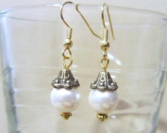 Colored Pearl & Bead Cap Dangle Earrings, Handmade Original Fashion Jewelry, Classic Glamorous Vintage Inspired Custom Wedding Bridal Gift