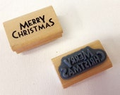 Merry Christmas Rubber Stamp - Vintage Style Print - Gift Tag Card Present Card