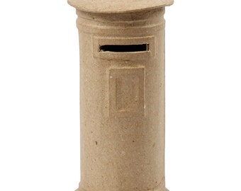 Post Box Shaped Money Box - Small Plain Paper Mache Postbox Letterbox Mailbox - Craft Decorate Display Toy