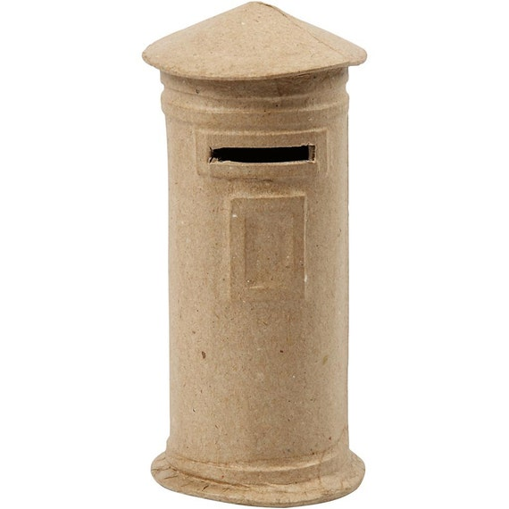 Mail box money box small plain papier mache post letter for How to decorate a money box