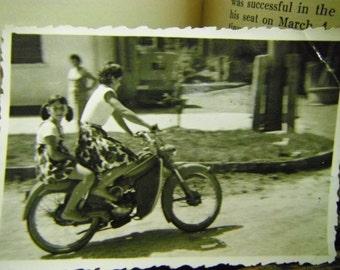 Vintage Snapshot Photo - Females on German Motorcycle
