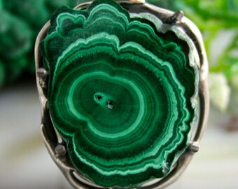 Malachite Ring Green Stone Sterling Silver Jewelry