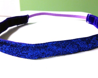 NOODLE HUGGER Non slip ribbon headband - deep blue tinsel glitter - 5/8 inch (running, working out, everyday: women and girls)