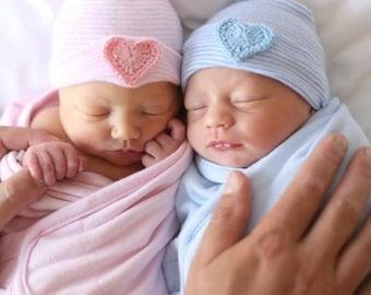 Newborn hospital hat- Twin baby hat- twin newborn hat- twin hospital hat- twin hat- twins- twins clothing- baby hat- newborn hat