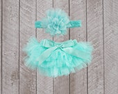 Baby Girl Ruffle Bottom Tutu Bloomer & Headband Set in Aqua - Newborn Photo Set - Cake Smash - Diaper Cover - Baby Gift - First Birthday