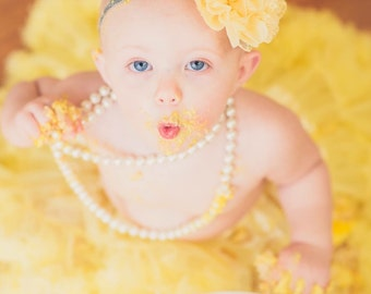 Pettiskirt - FREE Silver Glitter & Yellow Flower Headband - Yellow Skirt - Flower Girl - First Birthday Outfit - Newborn Photos -infant tutu