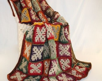 Afghan - Handmade Granny Square Afghan - Patchwork Crochet Blanket - Autumn Tones - Christmas in July SALE - 20 % off until July 31st