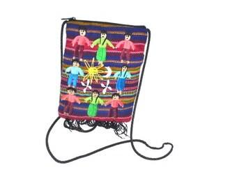 90s vintage Cloth mini bag Handbag Purse fabric shoulder bag embroidered friends floral hand woven bag  travel rainbow bag cellphone key bag