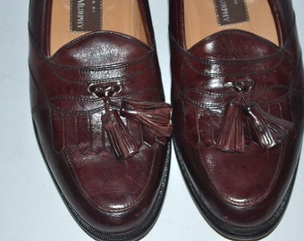 Vintage mens  brown leather shoes  Johnston & Murphy dress Tassel  loafers  SIZE 8M