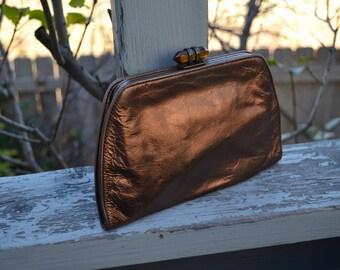 80s Banana Republic Purse Small bronze tone cow leather makeup cosmetic bronze  bag  Retro Formal Handbag elegant clutch  wedding purse