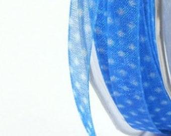 1/4 inch Sheer Blue Dot Print Ribbon doll trim decoration tiny trim blue miniature
