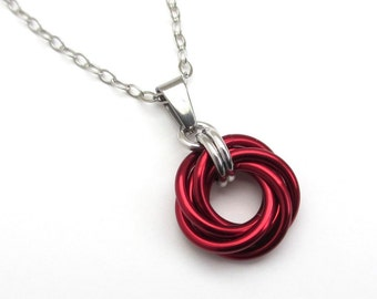 Red pendant necklace, chainmail love knot circle pendant, red chainmail jewelry
