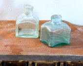 Two Antique Dump Dug Glass Ink Bottles from 1800s