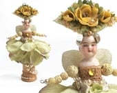 Flower Child, garden sprite, mixed media assemblage, flower girl, millinery flowers, altered art doll, by Elizabeth Rosen