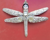 bejeweled dragonfly, mixed media assemblage, altered art doll ornament, holiday decoration, doll head ornament, by Elizabeth Rosen