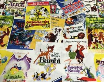 "Disney Greatest Love Story Movie Poster Cotton Fabric Yardage - 44"" Wide"