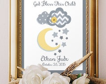 Baby Boy Baptism gifts, Boys dedication gift, Scripture art, Christening day, Personalized Godparents gift Yellow Gray decor 8x10 kids Print