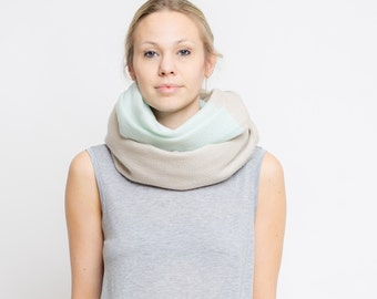 merino color block scarf // sand - aqua
