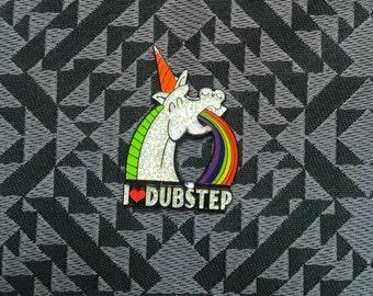 I love Dubstep Unicorn puking Rainbow Glitter Pin