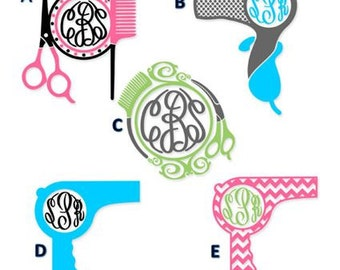 Monogrammed Hair Dresser Decal /RTIC YETI
