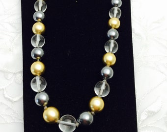 Vintage 1980 Joan Rivers Necklace, Gold Tone, Clear Glass, Faux Pearls, Item, No. B023