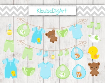 Blue and Green Baby Boy Clothes Laundry Line Digital Clipart Graphics for Personal and Small Commercial Use (C027)