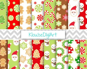 Christmas Cookies Printable Digital Paper in Red and Green, with Christmas characters for Personal and Small Commercial Use (0230)