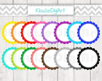 Digital Rainbow Scallop Frames Borders Clipart - Personal and Small Commercial Use (0047)