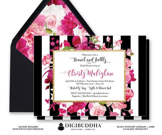 BRUNCH BUBBLY INVITATION Bridal Shower Invite Black White Striped
