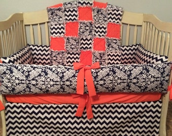 CUSTOM, Baby Rag Quilt, Crib Skirt, and Fitted Sheet