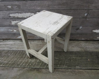 Antique Table Small Rustic White Stand Wood Table Chipping White Paint Wooden Primitive 4 Leg Table Stand Vintage Furniture Chippy Rustic
