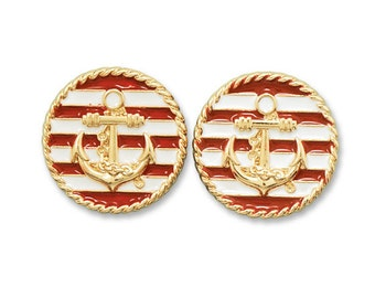 Nautical Red and White Gold Tone Anchor Fashion Earrings