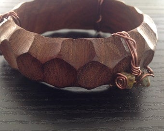 Wood Bangle Bracelet with copper wire-wrapped detail