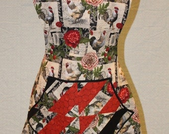 Reversible Vintage Chicken Print Cross Back Apron with Quilted Pockets