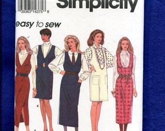 Simplicity 8546 V & U Shaped Neckline Jumpers with Side Button Details Size 6..8..10 UNCUT