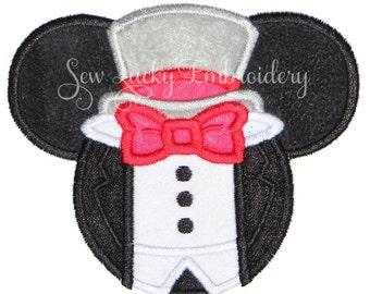 Groom Mouse Head Applique Embroidered Patch , Sew or Iron on - Ready to Ship - RTS