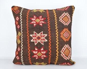 Handmade Wool Pillow Cover, Bohemian Pillow, Kilim pillow, Kilim Pillow Cover nkp101, Turkish Pillow, Bohemian Decor, Moroccan Pillow, Kilim